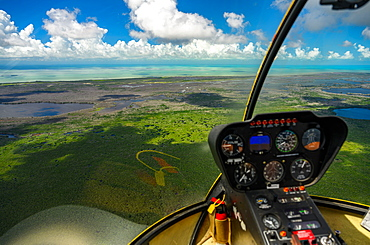 View through cockpit window of Everglades National Park in Florida, USA