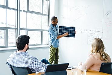 Man using diagram during board room presentation