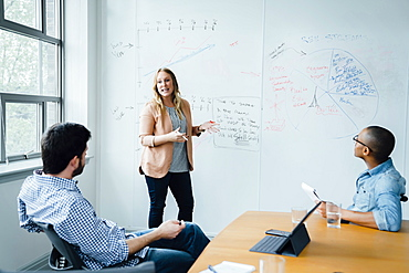 Woman using whiteboard during board room presentation