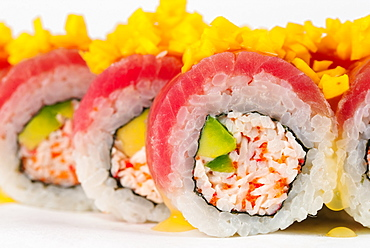 Sushi with surimi and raw fish