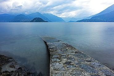 Long exposure shot of ramp in Lake Como, Italy