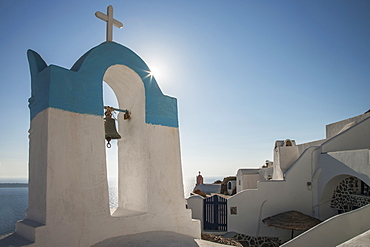 Blue and white bell tower in Santorini, Cyclades Islands, Greece