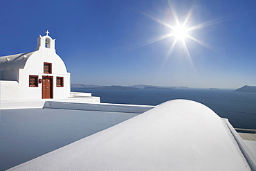 Whitewashed church in Santorini, Cyclades Islands, Greece