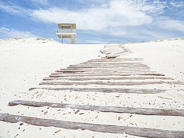 Lifeguard hut by boardwalk