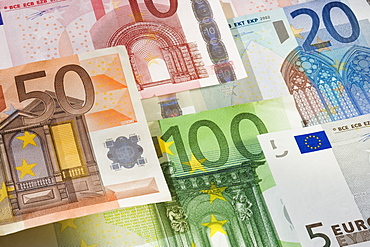 Close up of assorted Euros