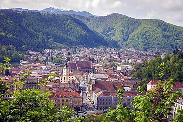 Cityscape with hills in Brasov, Romania