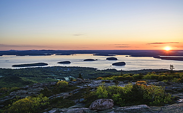 Islands in Frenchman Bay at sunrise in Acadia National Park, USA