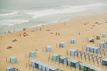 Beach tents in Santa Cruz, Lisbon, Portugal