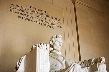 Closeup of statue at Lincoln Memorial Washington DC USA
