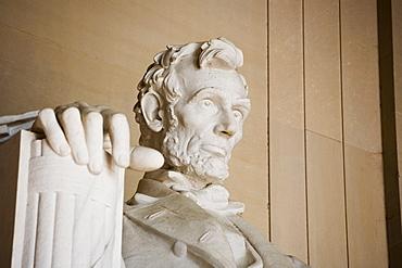 Close up detail of face at Lincoln Memorial Washington DC USA