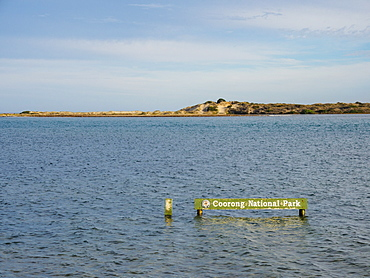 Sign in sea at Coorong National Park, Australia
