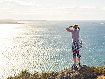 Woman looking at view of Victor Harbor, South Australia, Australia