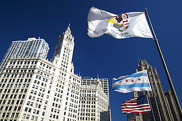 Wrigley Building with flags Chicago Illinois USA