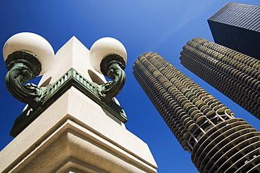 Street lamp detail at Marina City Towers Chicago Illinois USA