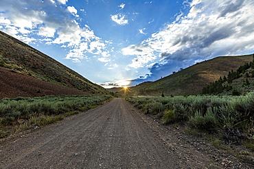 Dirt road through valley in Bellevue, Idaho, USA
