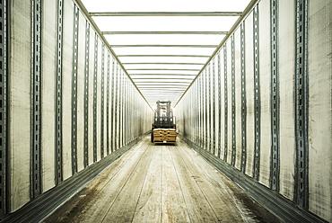 Forklift inside tunnel