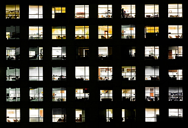 Windows in Sabadell Financial Center at night in Miami, Florida