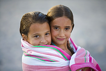 Girls wrapped in towel in Miami, Florida, United States of America