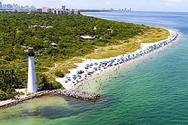 Lighthouse on coastline in Key Biscayne, Florida, United States of America