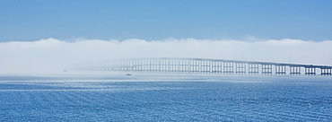 Bridge over sea in fog in Key Biscayne, Florida, United States of America