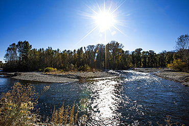 Big Wood River under sun in Bellevue, Idaho, United States of America