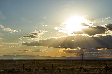 Sunbeams over field in Boise, Idaho, United States of America