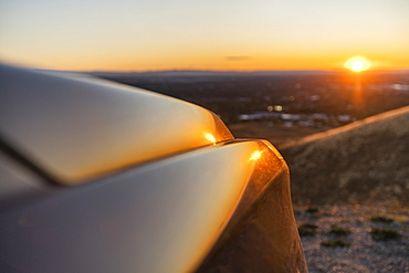 Car hood at Treasure Valley at sunset in Boise, Idaho, United States of America
