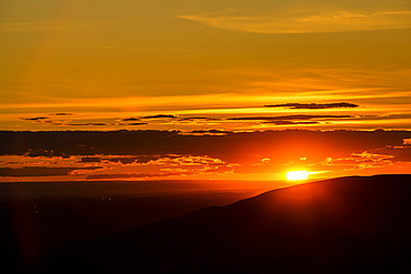 Silhouette of Boise Foothills at sunset in Boise, Idaho, United States of America