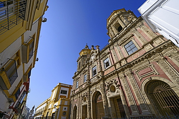 Low angle shot of Church of Saint Louis of France in Seville, Andalusia, Spain