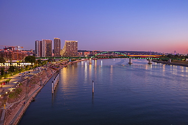 City skyline by Sava River at sunset in Belgrade, Serbia