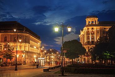 Krakowskie Przedmiescie at night in Warsaw, Masovia, Poland