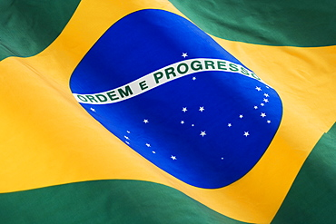 Close up of flag of Brazil