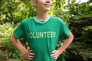 Girl wearing volunteer t-shirt
