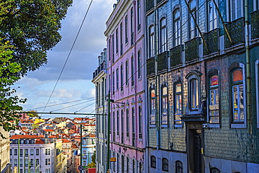 Colorful townhouses in Lisbon, Portugal