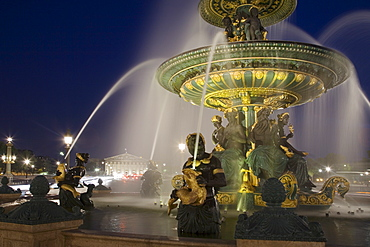 Ornate fountain at night