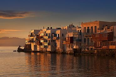 Buildings on waterfront in Mykonos, Greece