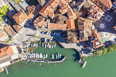 Aerial view of buildings and marina on Lake Como in Lombardy, Italy