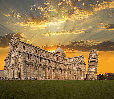 Leaning Tower of Pisa and Piazza dei Miracoli at sunset in Tuscany, Italy