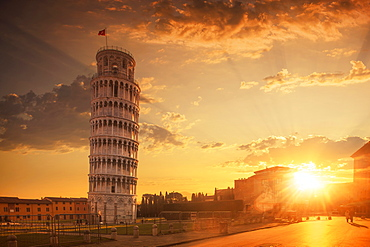Leaning Tower of Pisa at sunset in Tuscany, Italy