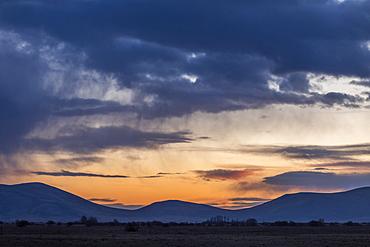 Silhouette of hills at sunset, Bellevue, Idaho, USA