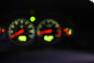 Speedometer in car in soft focus