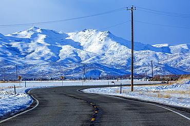 Highway by snowy mountain in Bellevue, Idaho