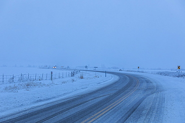 Snow on highway in Bellevue, Idaho