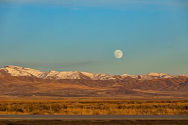 Moon over hills in Boise, Idaho