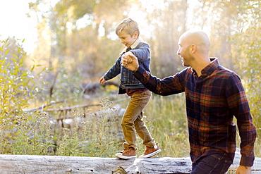Man holding son's hand as he walks on fallen tree