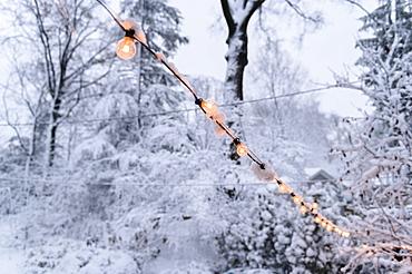 Snow on fairy lights