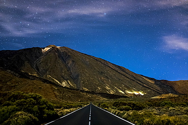 Mount Teide and highway in Tenerfie, Spain