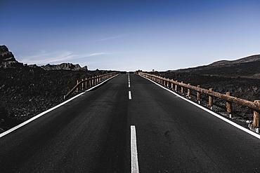 Teide National Park highway in Tenerife, Spain