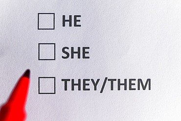 Pen marking on personal pronoun and non binary gender checklist