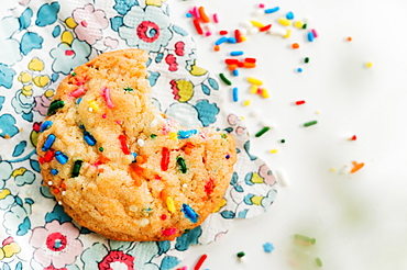 Homemade cookie with colorful sprinkle on floral napkin